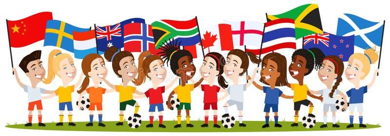 Kvinnors fotboll, grupp av kvinnliga spelare, tecknad filmkvinnor som rymmer nationsflaggor England, Norge, Sverige, Kina royaltyfri illustrationer