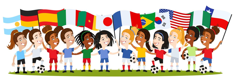 Kvinnors fotboll, grupp av kvinnliga spelare, tecknad filmkvinnor som rymmer nationsflaggor, Tyskland, Frankrike, Spanien, Argent vektor illustrationer