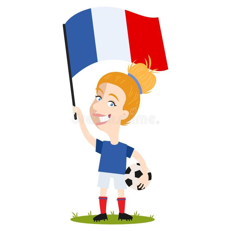 Kvinnors fotboll, kvinnlig spelare för Frankrike, tecknad filmkvinna som rymmer den franska flaggan som bär den blåa skjortan och vektor illustrationer
