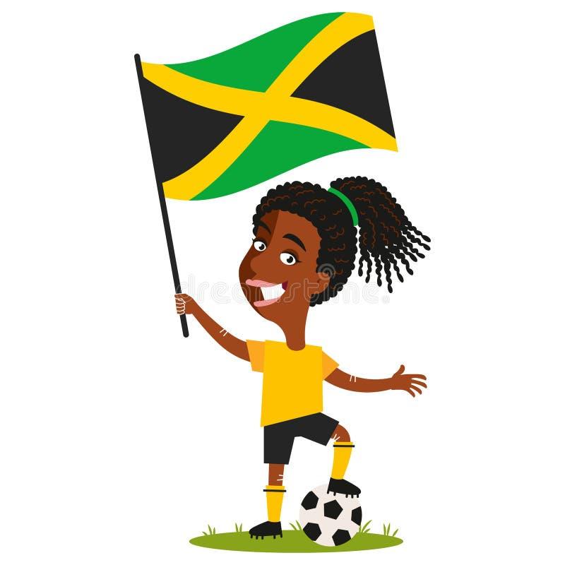Kvinnors fotboll, kvinnlig spelare för Jamaica, tecknad filmkvinna som rymmer den jamaikanska flaggan som bär den gula skjortan o vektor illustrationer