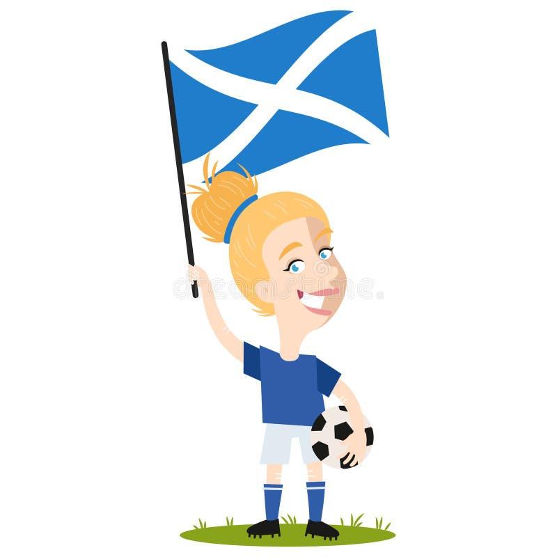 Kvinnors fotboll, kvinnlig spelare för Skottland, tecknad filmkvinna som rymmer den skotska flaggan som bär den blåa skjortan och royaltyfri illustrationer