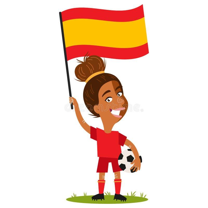 Kvinnors fotboll, kvinnlig spelare för Spanien, tecknad filmkvinna som rymmer den spanska flaggan som bär den röda skjortan och k royaltyfri illustrationer
