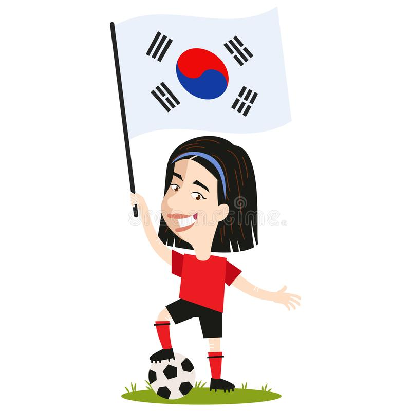 Kvinnors fotboll, kvinnlig spelare för Sydkorea, tecknad filmkvinna som rymmer den sydkoreanska flaggan som bär den röda skjortan vektor illustrationer