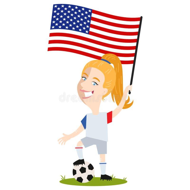 Kvinnors fotboll, kvinnlig spelare för USA, tecknad filmkvinna som rymmer skjortan och kortslutningar för USA-amerikanska flaggan stock illustrationer