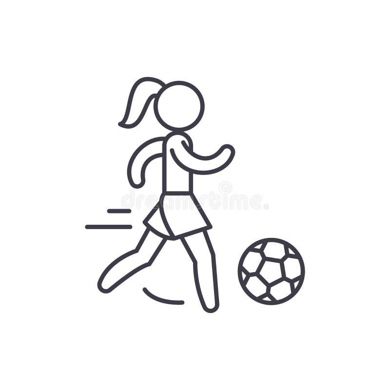 Kvinnors fotbolllinje symbolsbegrepp Kvinnors linjär illustration för fotbollvektor, symbol, tecken royaltyfri illustrationer