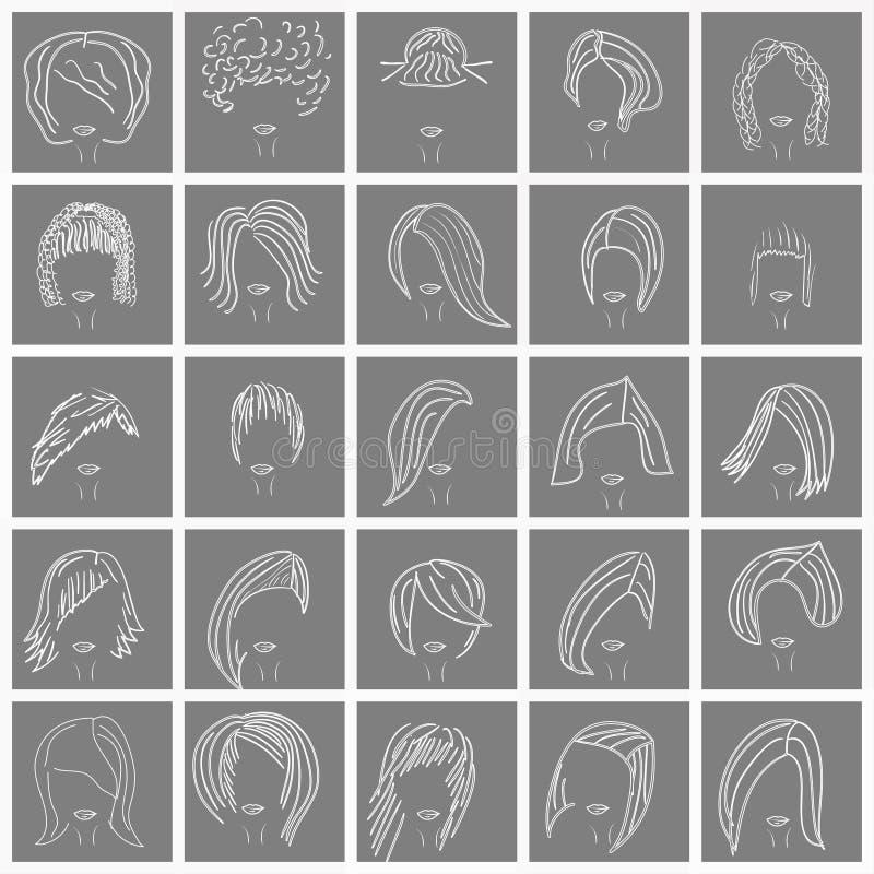 Kvinnors frisyr vektor illustrationer