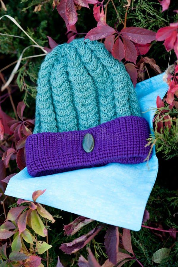 Kvinnors härlig varm ull stack hatt med ett halsdukskott i naturligt ljus royaltyfri fotografi