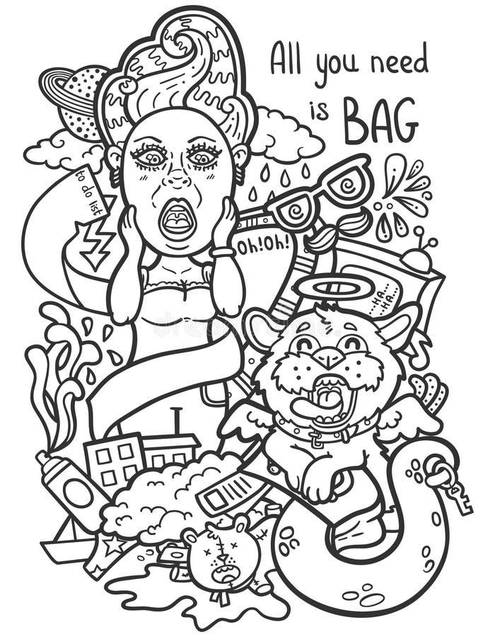 Kvinnors handväska vektor illustrationer