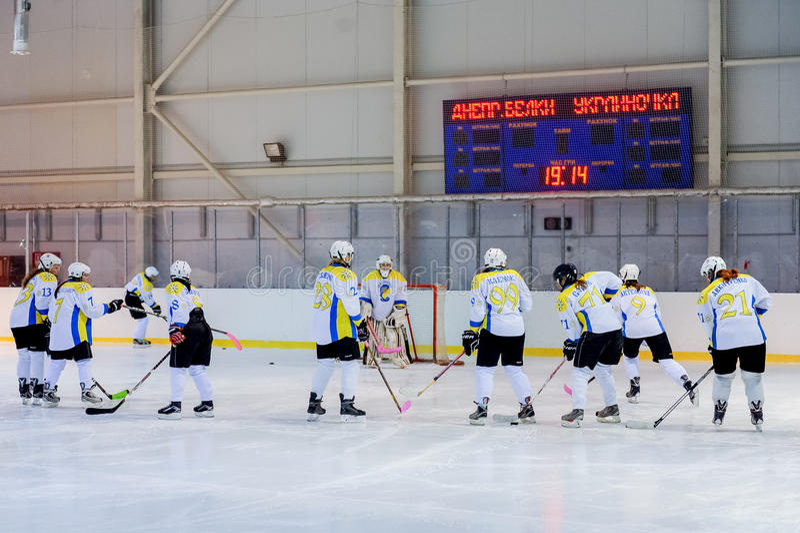 Kvinnors hockey i Ukraina royaltyfria bilder