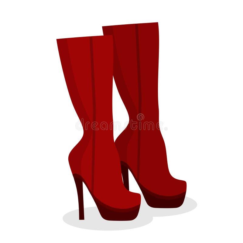 Kvinnors kängor för skor för mode röda på vit bakgrund, kvinnlig vinter-, höst- eller vårskodonkänga på en hög häl stock illustrationer