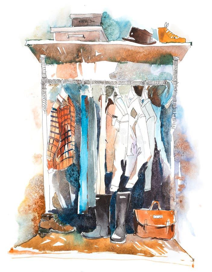 Kvinnors kläder på kuggen, tillbehörmodedräkt shopping royaltyfri foto