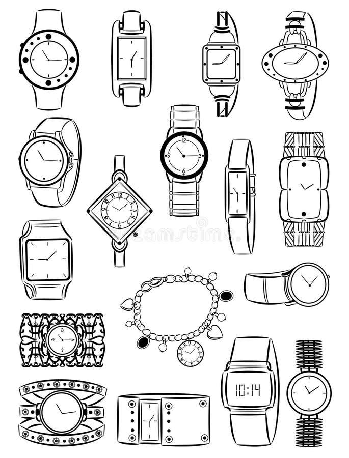 Kvinnors klockor stock illustrationer