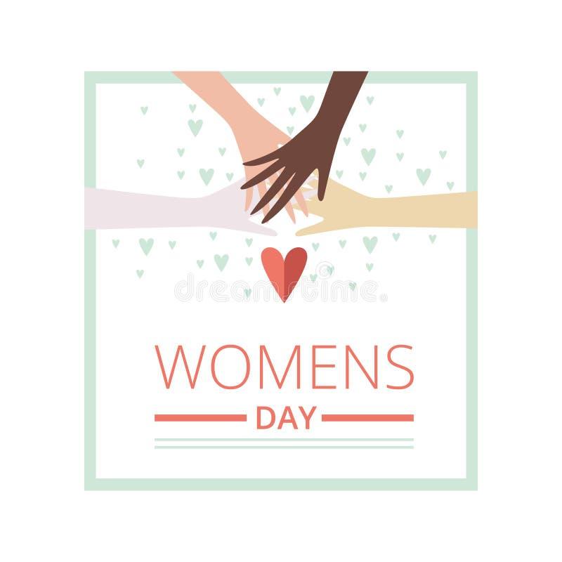 Kvinnors kort för hälsning för dag blom- med korsade kvinnliga händer av olika nationer, partiinbjudan, festlig banervektor vektor illustrationer