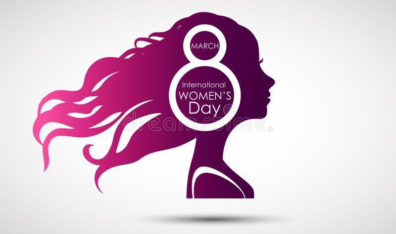 Kvinnors kortet för daghälsningen på purpurfärgad bakgrund med design av kvinnor vänder mot och smsar 8th kvinnadag för mars vektor illustrationer