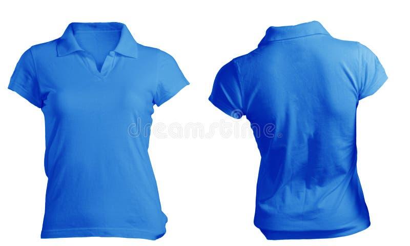 Kvinnors mellanrumsblått Polo Shirt Template royaltyfri foto