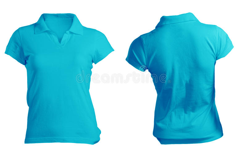 Kvinnors mellanrumsblått Polo Shirt Template arkivbilder