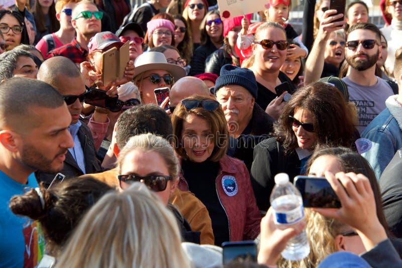 Kvinnors protestmars, San Francisco, CA 2019 arkivfoto