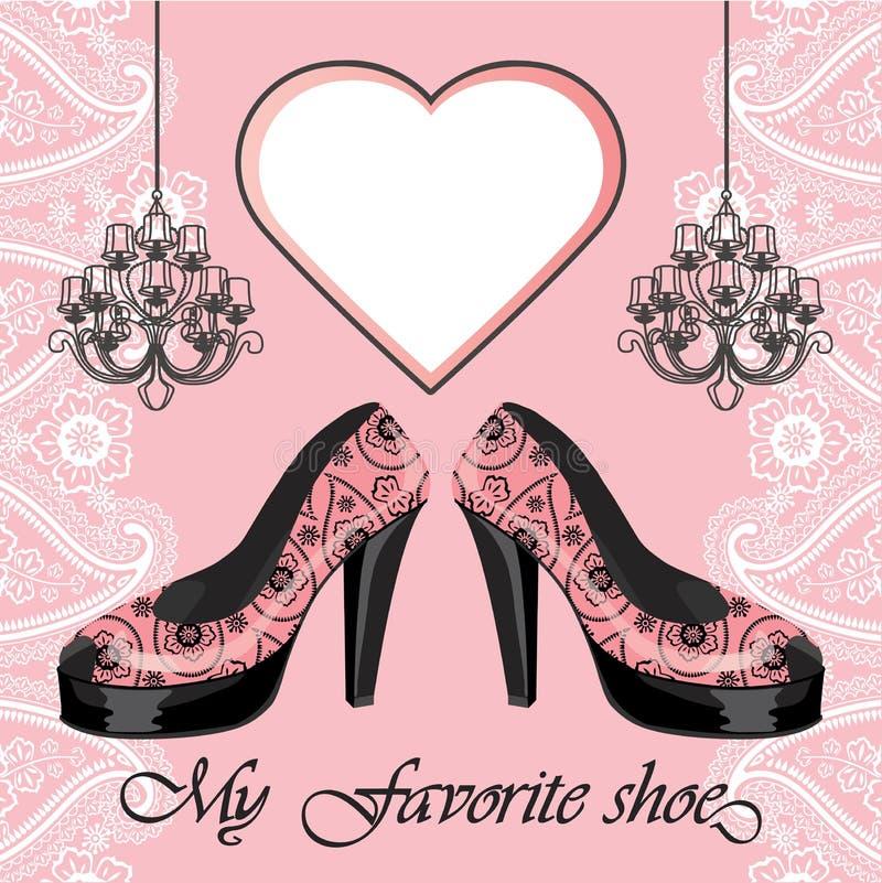 Kvinnors sko för höga häl, etikett, ljuskronor royaltyfri illustrationer