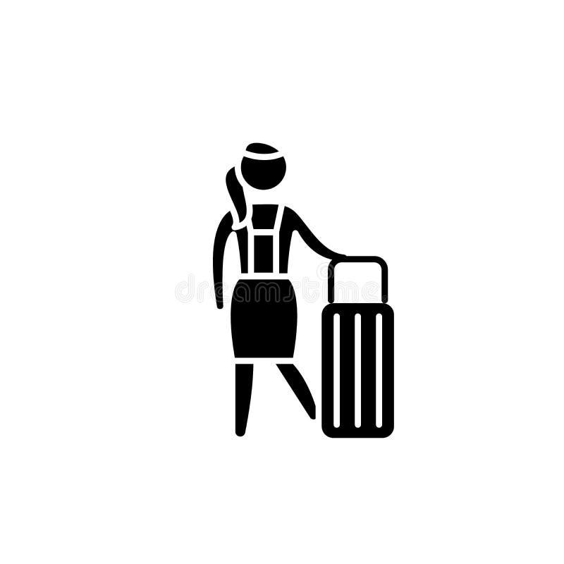 Kvinnors symbol för loppsvart, vektortecken på isolerad bakgrund Kvinnors symbol för loppbegrepp, illustration royaltyfri illustrationer