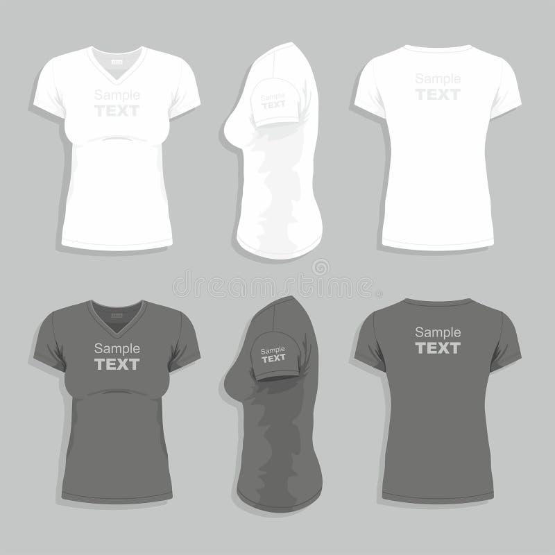 Kvinnors t-skjorta vektor illustrationer