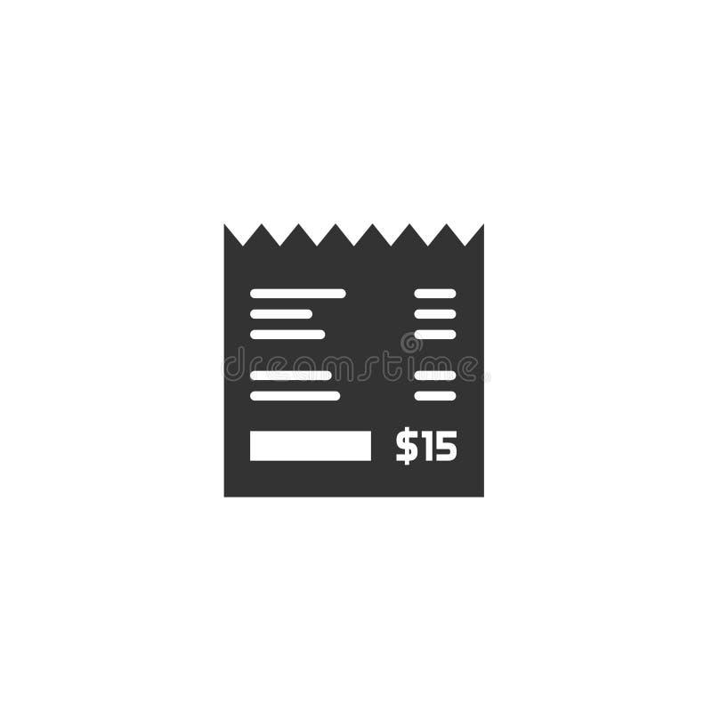 Kvittera vektorsymbolen, fakturera illustrationen, pappers- räkningchecksvart vektor illustrationer