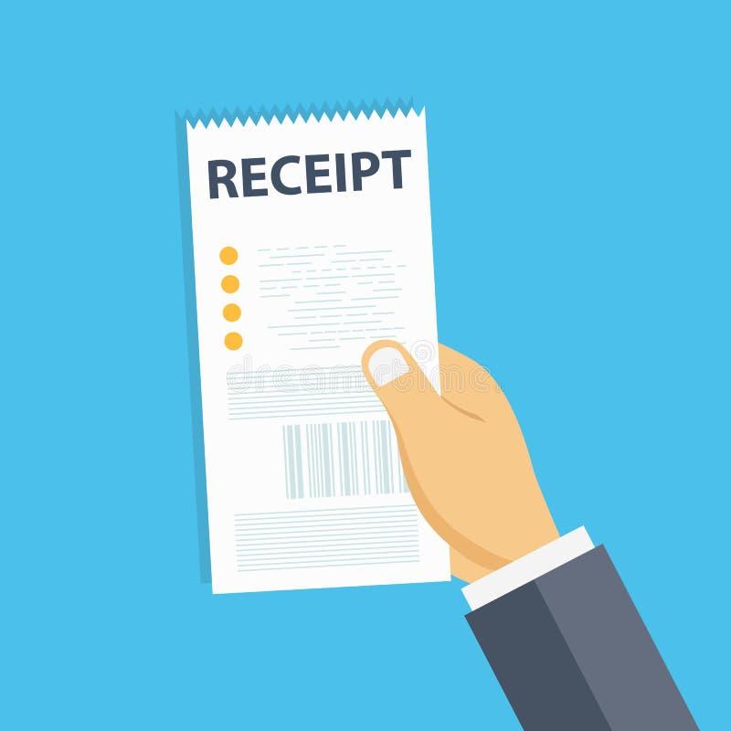 Kvitto för handinnehavmellanrum Räkningmall eller pappers- finansiell kontroll för restaurang Plan vektor stock illustrationer