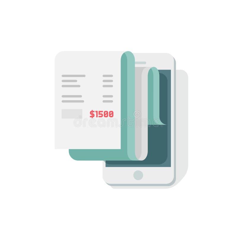 Kvitto i smartphonevektorillustrationen, lägenhetstilmobiltelefon med fakturaräkningpapper royaltyfri illustrationer