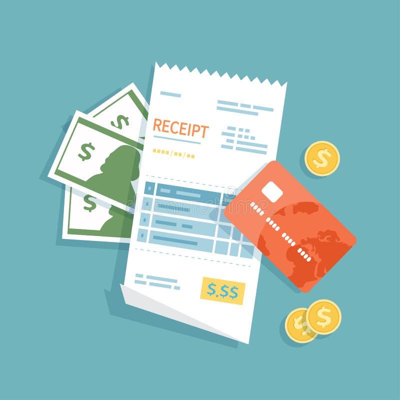 Kvitto med pengar, kreditkort, guld- mynt Pappers- kontroll, faktura, räkning, beställning Betalning av gods, service, hjälpmedel stock illustrationer