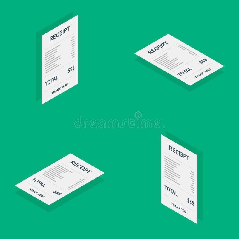 Kvittopapper som är isometriskt, räkningkontroll, faktura, kassakvitto, betalning av hjälpmedel, vektor, plan symbol vektor illustrationer