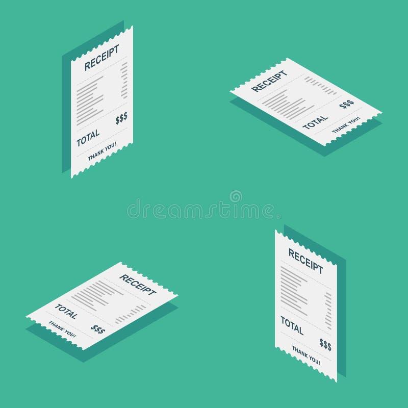 Kvittopapper som är isometriskt, räkningkontroll, faktura, kassakvitto, betalning av hjälpmedel, vektor, plan symbol stock illustrationer