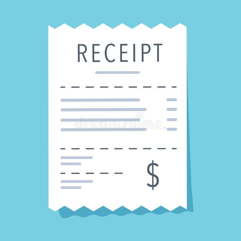 Kvittosymbol Plan design också vektor för coreldrawillustration Finansiellt konto, räkningfaktura Bankdokumentsymbol för affärswe vektor illustrationer