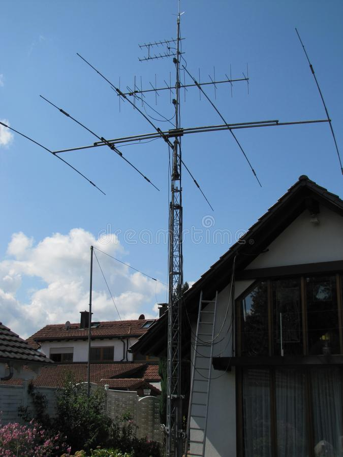 KW Aerial, KW Antenne, / Bands, Sieben Bande. KW Antenne for Seven Bands. Following 2 Meter Bands direct Antenne following 70 centimeter Band direct Antenne stock photo