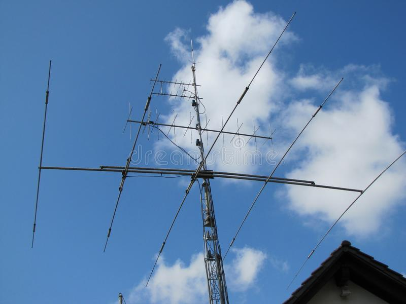 KW Aerial, KW Antenne, / Bands, Sieben Bande. KW Antenne for Seven Bands. Following 2 Meter Bands direct Antenne following 70 centimeter Band direct Antenne stock image