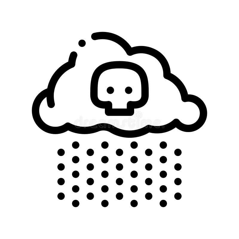 Kwaśnego Deszczu Ziemskiego Problemowego wektoru Cienka Kreskowa ikona royalty ilustracja