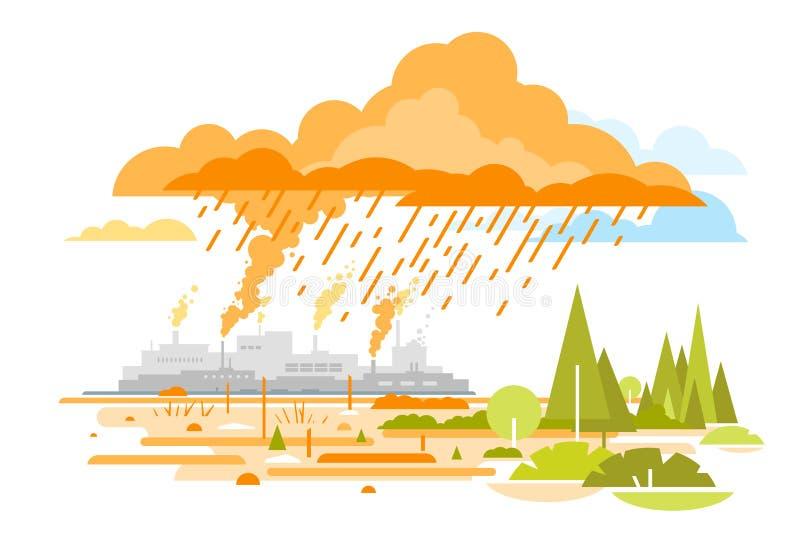 Kwaśny Deszcz emisje od rośliien royalty ilustracja