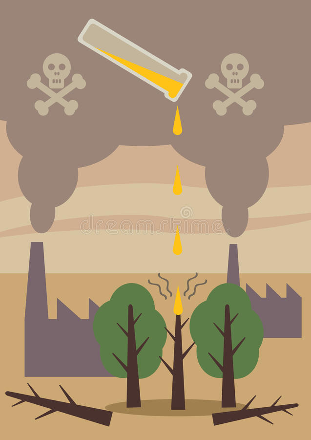 Kwaśnych Deszczów drzewa ilustracja wektor