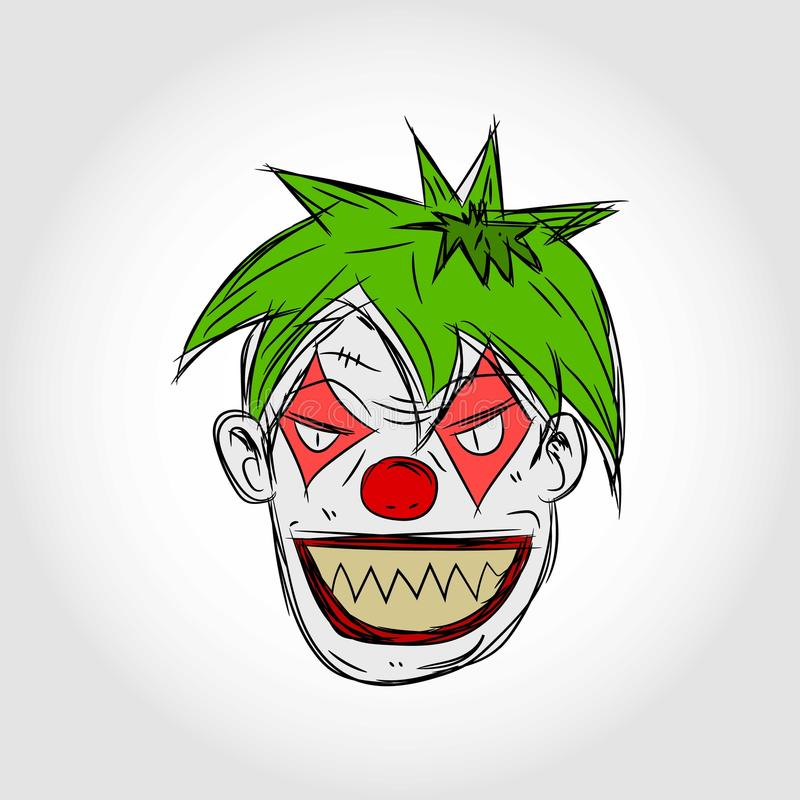 kwaad clowngezicht vector illustratie