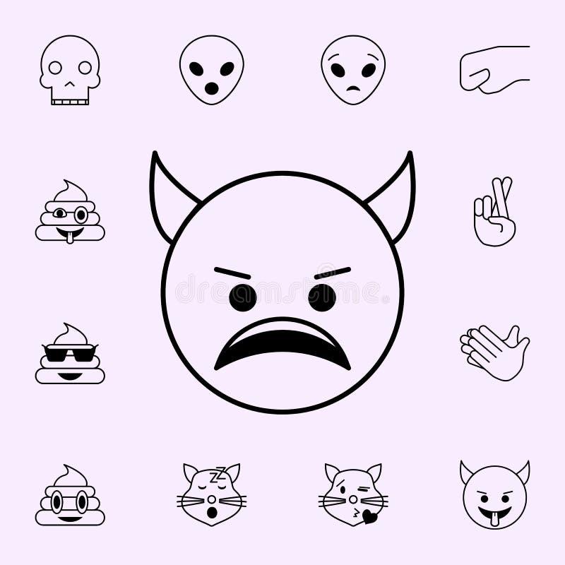 kwaad duivelspictogram Voor Web wordt geplaatst dat en het mobiele algemene begrip van Emojipictogrammen royalty-vrije illustratie
