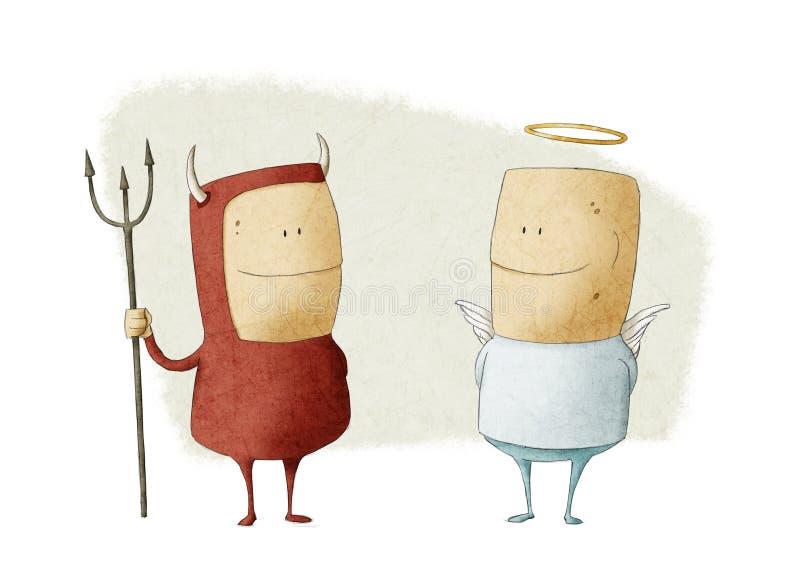 Kwaad en engel royalty-vrije illustratie