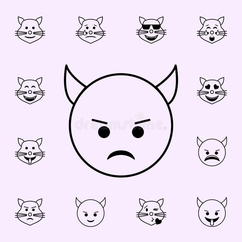 kwaad IMP-pictogram Voor Web wordt geplaatst dat en het mobiele algemene begrip van Emojipictogrammen vector illustratie