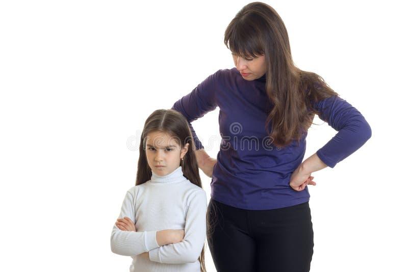 Kwaad meisje en haar mamma royalty-vrije stock afbeeldingen