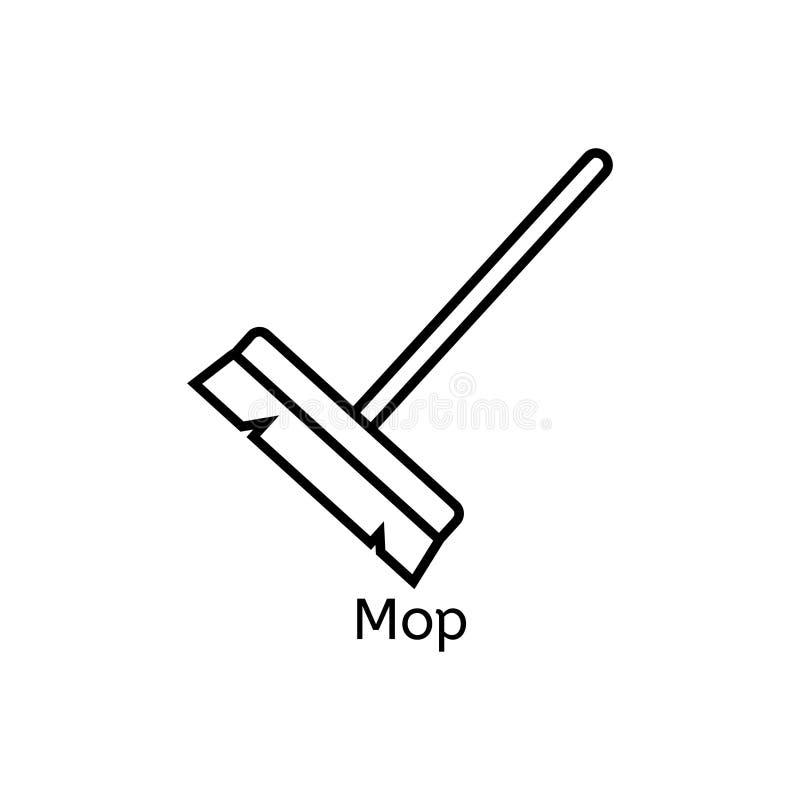 Kwacz prosta kreskowa ikona Podłogowego cleaning ciency liniowi znaki Czyści prosty pojęcie dla stron internetowych, infographic, royalty ilustracja