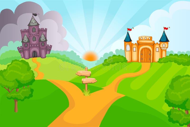 Kwade en goede fairytalekastelen royalty-vrije illustratie