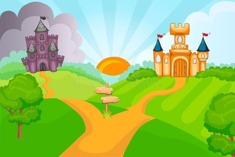 Kwade en goede fairytalekastelen vector illustratie