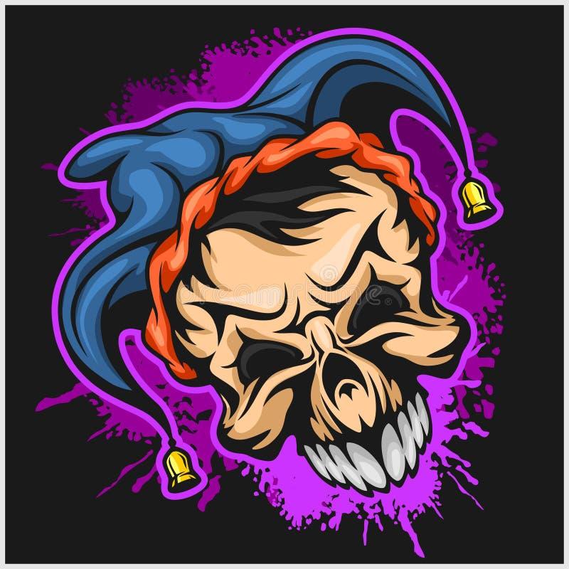 Kwade enge clown Halloween-monster, jokerkarakter Vector illustratie stock illustratie