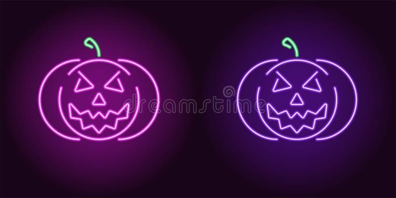 Kwade neonpompoen in purpere en violette kleur royalty-vrije illustratie