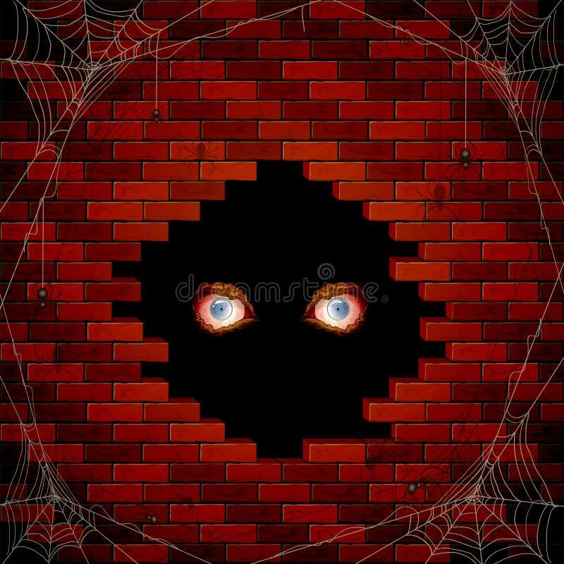 Kwade ogen in het gat van de bakstenen muur en de spinnen vector illustratie