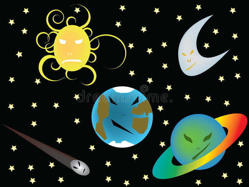 Kwade planeten vector illustratie