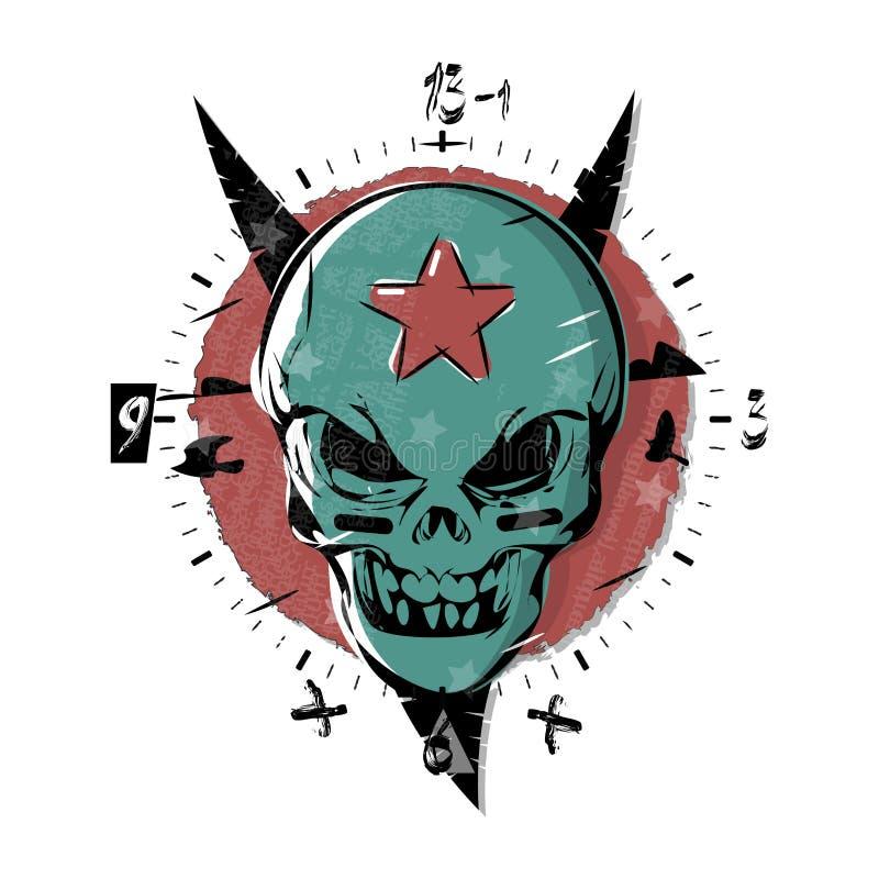 Kwade schedel met een ster op zijn voorhoofd Gotisch horloge, de wijzerplaatplaat van het klokontwerp Vectorillustratiekunst in t royalty-vrije illustratie