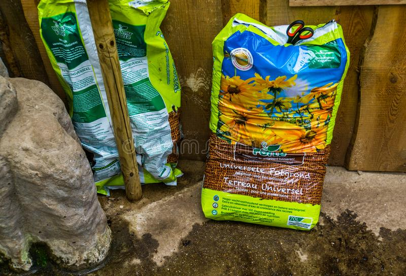 Kwadendamme, march 19, 2019, humuforte bag of potting soil, organic fertilizers, biological gardening products. Kwadendamme, The Netherlands, march 19, 2019 royalty free stock image